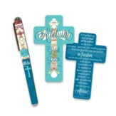Alleluia Cross Shaped Bookmark and Pen Set