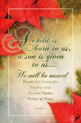 Poinsettia | A child is born to us... (Isaiah 9:6) Bulletins, 100