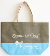 Woman of God Purse-Style Jute Tote Bag