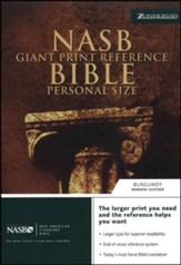 NAS Giant Print Reference Bible, Personal Size, Bonded leather, Burgundy