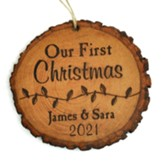 Personalized, Tree Bark Ornament, First Christmas