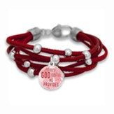 Where God Guides He Provides Bracelet, Red with Silver Beads