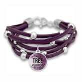Like a Tree Planted by the Water Bracelet, Purple with Silver Beads
