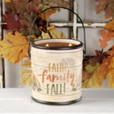 Faith Family Fall Ceramic Crock with Candle, Large