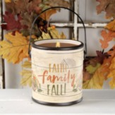 Faith Family Fall Ceramic Crock with Candle, Small