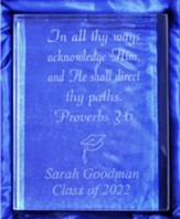 Personalized, Crystal Plaque, Rectangle, Graduation