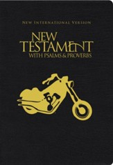 NIV New Testament with Psalms and Proverbs, Pocket-Sized,  Paperback, Black Motorcycle