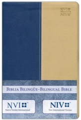 Biblia bilingue NVI/NIV, piel duo tono, azul/crema  (NVI/NIV Bilingual Bible, Blue/Beige DuoTone Leather)