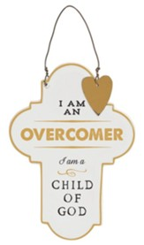 Overcomer Ceramic Cross with Heart Accent