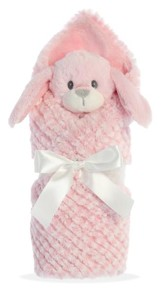 Little Pitter Pattern, Rattle and Swaddle, Pup, Pink