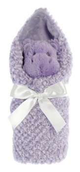 Little Pitter Pattern, Rattle and Swaddle, Hippo,Purple