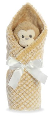 Little Pitter Pattern, Rattle and Swaddle, Monkey, Tan