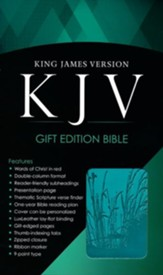 KJV Bible, Lux Leather, Zipper, Turquoise
