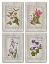 Flowers with Gray Border Sympathy Cards, Box of 12