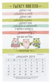 2019 Whatever is Lovely, Mini Magnetic Calendar