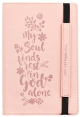 My Soul Finds Rest in God Alone Dot Journal, Pink with Elastic Closure