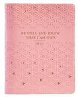 2021 Be Still Daily Planner for Women with Zipper, Pink