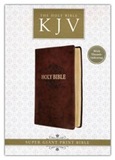 KJV Super Giant-Print Bible--imitation leather, brown , thu  mb indexed