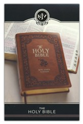 KJV Large-Print Bible--imitation leather, tan with flowers