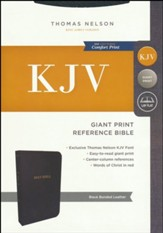 KJV Reference Bible, Giant Print, Black Bonded Leather, Indexed - Imperfectly Imprinted Bibles