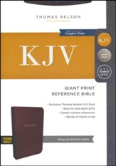 KJV Reference Bible, Giant Print, Burgundy Bonded Leather, Indexed