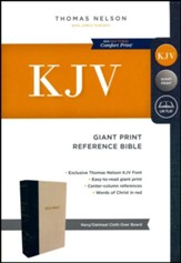 KJV Reference Bible, Giant Print, Blue and Tan, Hardcover