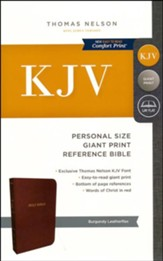 KJV Personal Size Reference Bible Giant Print, Leather-Look, Burgundy - Imperfectly Imprinted Bibles