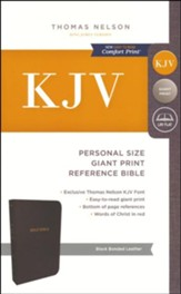 KJV Personal Size Reference Bible Giant Print, Bonded, Leather, Black, Indexed - Slightly Imperfect