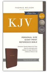 KJV Personal Size Reference Bible Giant Print, Bonded Leather, Burgundy, Indexed