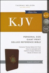 KJV Deluxe Personal Size Reference Bible Giant Print, Leather-Look, Burgundy Indexed