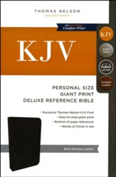KJV Personal Size Reference Bible Giant Print, Genuine Leather, Black