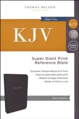 KJV Reference Bible Super Giant Print, Black, Indexed