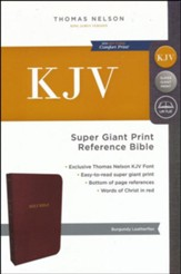 KJV Reference Bible Super Giant Print, Burgundy, Indexed