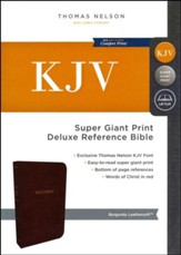 KJV Deluxe Reference Bible Super Giant Print, Burgundy Burgundy