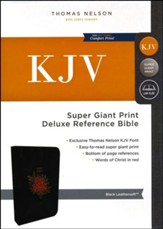 KJV Deluxe Reference Bible Super Giant Print, Black  , Flower - Slightly Imperfect