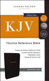 KJV Thinline Reference Bible, Bonded Leather, Black Indexed - Imperfectly Imprinted Bibles