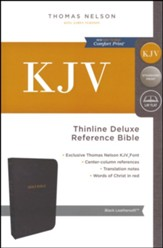 KJV Deluxe Thinline Reference Bible, Leather-Look  Black Indexed