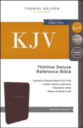 KJV Deluxe Thinline Reference Bible, Leather-Look  Burgundy Indexed