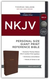 NKJV Comfort Print Reference Bible, Personal Size Giant Print, Imitation Leather, Brown