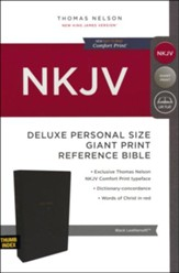 NKJV Comfort Print Deluxe Reference Bible, Personal Size Giant Print, Imitation Leather, Black, Indexed