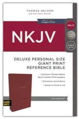 NKJV Comfort Print Deluxe Reference Bible, Personal Size Giant Print, Imitation Leather, Red, Indexed - Imperfectly Imprinted Bibles