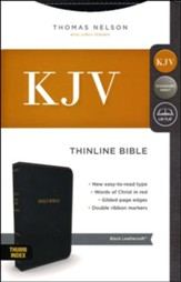KJV Comfort Series Thinline Bible Leather Look Black, Indexed