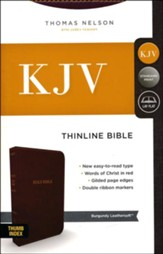 KJV Comfort Series Thinline Bible Leather Look Burgundy, Indexed