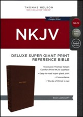 NKJV Comfort Print Deluxe Reference Bible, Super Giant Print, Imitation Leather, Brown