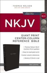 NKJV Comfort Print Reference Bible, Center Column, Giant Print, Leather-Look, Black