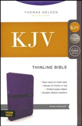 KJV Comfort Series Thinline Bible Leather Look Purple, Indexed
