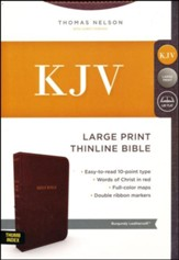 KJV Comfort Series Thinline Bible Large Print Leather Look Burgundy, Indexed