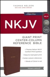 NKJV Comfort Print Reference Bible, Center Column, Giant Print, Imitation Leather, Brown