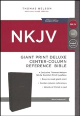 NKJV Comfort Print Deluxe Reference Bible, Center Column, Giant Print, Imitation Leather, Black