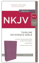 NKJV Comfort Print Thinline Reference Bible, Imitation Leather, Purple - Slightly Imperfect
